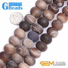 """Brown Stripe Frost Matte Agate Rondelle Spacer Jewelry Making Beads Strand 15"""""""
