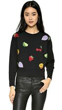 Oh MG! Juniors' Embellished Fruit Long Sleeve Patch Sweater - Black - NWT