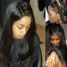 Pre Plucked Full Lace Front Wig 100% Remy Malaysian Human Hair Black Straight Dh