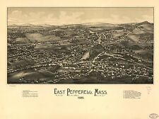 Poster Print Antique American Cities Towns States Map East Pepperell Mass