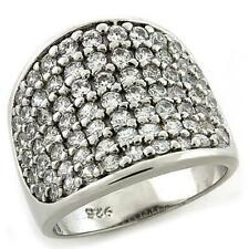 1184 sterling silver stamped cluster ring simulated diamonds band womens pretty