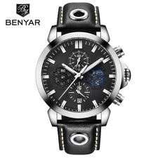 BENYAR Brand Military Chronograph Sport Mens Quartz Watches Leather Band Watch