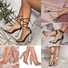 Women Lace Up Block Hight Heel Ankle Strappy Peep Toe Sandals Pumps Shoes SIze