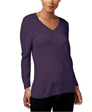 Karen Scott Women's Long Sleeve V Neck Sweater - Purple Dynasty - NWT