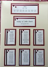 A2 Handmade Personalised Wedding seating Table plan up to 9 Tables  Hearts