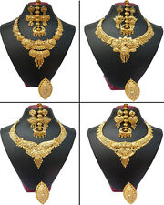 Indian Necklace Earrings 22K Gold Plated Bridal Ethnic Polished Gergeous Set