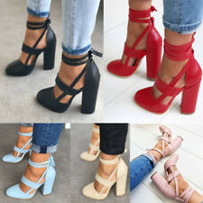 Ladies Pointed Toe Lace Up Ankle Strappy Sandals High Heels Block Chunky Shoes