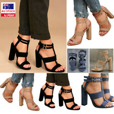 AU Women Summer Block High Heel Ankle Strap Sandals Peep Toe Party Casual Shoes