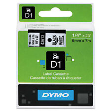 Dymo 43613 D1 Label Printer Tape 1/4 Black on White LabelManager LM 6mm, 6 mm