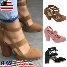 US Womens High Block Heel Suede Lace Up Open Toe Summer Ankle Shoes Size 5-9.5