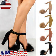 US Womens Pom Pom Sandals High Block Heels Pump Open Toe Party Shoes Summer Size
