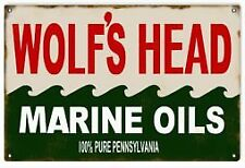 Vintage Metal Sign NOT TIN Wolf Head Motor Oil  Gas Station  18