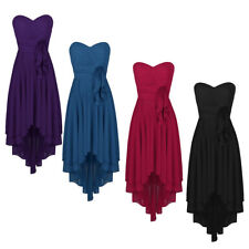 Womens Evening Dress Strapless High-low Chiffon Bridesmaid Formal Long Dresses