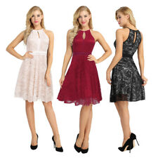 Women Summer Lace Sleeveless Halter Party Causal Prom A Line Swing Dress Gown