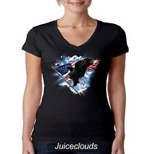 Patriotic V-Neck Shirt American Flying Eagle American Flag Tee USA JUNIORS