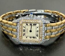 CARTIER LADIES PANTHERE 2 TONE 3 ROW 18K AND SS DIAMOND WATCH