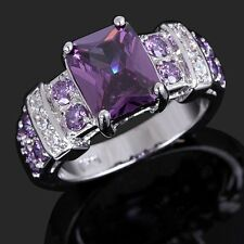 Womens Jewelry Pure Purple Amethyst 18K Gold Filled Wedding Ring Gift Size 6-10