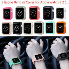 Sport Silicone Band w Cover Strap for Apple Watch Series 1/2/3 Bracelet 38/42mm