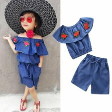 2PCS Toddler Kids Baby Girls Clothes Outfits Ruffle T-shirt Tops+Short Pants Set