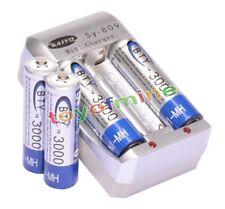 4x AA 1.2V Ni-MH 3000mAh Blue BTY Rechargeable Battery + AA AAA Charger