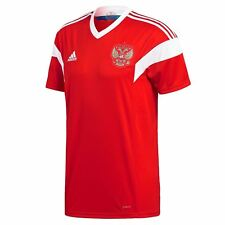 adidas Russia Home Jersey 2018 Mens Red/White Football Soccer Top Shirt Strip