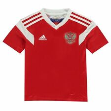 adidas Russia Home Jersey 2018 Juniors Red/White Football Soccer Top Shirt Strip