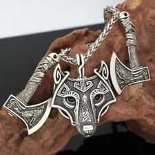 Wolf Head Axes Pendant Necklace Viking Amulet Nordic Rune Odin Raven