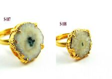 18K GOLD PLATED DRUZY BAND RING WHITE SOLAR GEMSTONE ADJUSTABLE BRASS JEWELRY-3