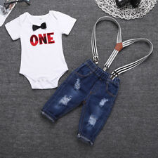 2Pcs Toddler Baby Boys Gentleman Suit Bowtie Romper+Suspenders Jeans Outfits