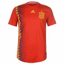 adidas Spain Home Authentic Jersey 2018 Mens Red/Gold Football Soccer Top Shirt