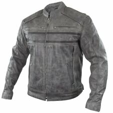 Xelement BXU1993 Sigma Mens Distressed Grey Cowhide Leather Motorcycle Jacket