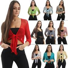 Womens Tie Up Open Front Shrug Knitted Cropped Ladies Bolero Short Cardigan Tops