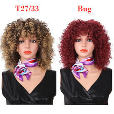 Ombre Short Afro Kinky Curly Wig Synthetic Wigs With Bangs African Wig for Women