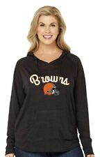 NFL Cleveland Browns Womens Curvy Pullover Hoodie in Gray - Plus Sizes