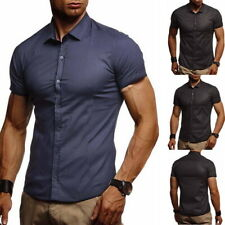 Men's Casual Button Down Short Sleeve Casual Slim Fit Shirts Solid Dress Shirt
