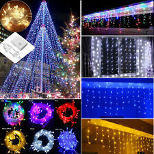 96-1500 LED Curtain Lights String Icicle Light Christmas Party Outdoor 110V-220V