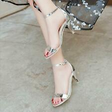 Women Summer Open Toe Gladiator Stiletto Mid-Heeled Ankle Strap Fashion Sandals