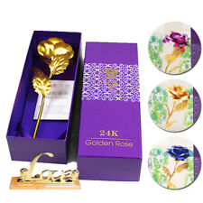 Flower 24K Gold Plated Rose Floral Christmas Birthday Gift Golden Rose With Box
