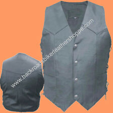 Mens Split Cowhide Leather Vest Side Laces  Motorcycle Biker Western