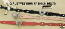 Child Kid's ~WESTERN BELT~ Leather Silver Heart Buckle - PINK/RED 83