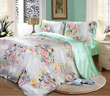 3~4 PCS 19MM 100% PURE SILK DUVET COVER FITTED SHEET PILLOWCASE SET ALL SIZE