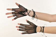 Fingerless Fishnet Gloves with Lace Tie Up Wrist Length