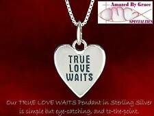 """Solid Sterling Silver """"TRUE LOVE WAITS"""" Heart Necklace"""