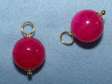 Fucsia Hot Pink Dragon Vein Agate INTERCHANGEABLE Earring Charms YG or SS