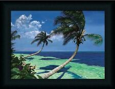 Beckoning Palms Tropical Scene Palm Tree Framed Art Print Wall Décor Picture