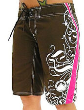 Liquid Force Ladies' ANGEL Board Shorts, Brown/Pink, UK 8-12. 40135