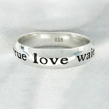 """Sterling Silver """"TRUE LOVE WAITS"""" Ring - Size 5 thru 9"""