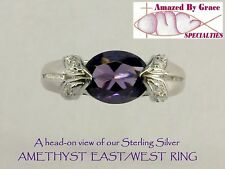 Amethyst Purple East/West Ring in SOLID Sterling Silver- PRICE REDUCED!
