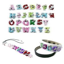 5 pieces Alloy Enamel Side charm Beads for 8mm Cord - Variety of Alphabet Letter