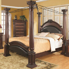 NEW PRADO FORMAL TRADITIONAL CHERRY FINISH WOOD FOUR POST QUEEN KING CANOPY BED